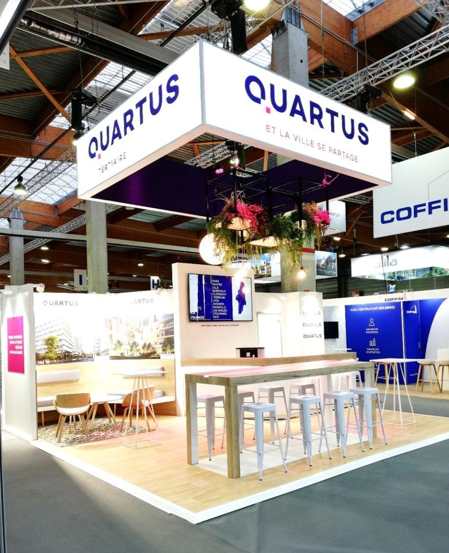 Media Product a réalisé le stand de la société Quartus sur le salon de l'AMIF en 2019